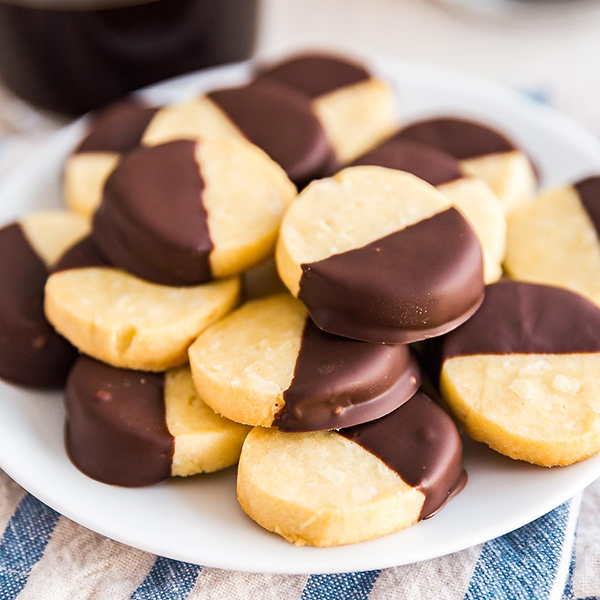 Chocolate Dipped Almond Shortbread Cookies Recipe