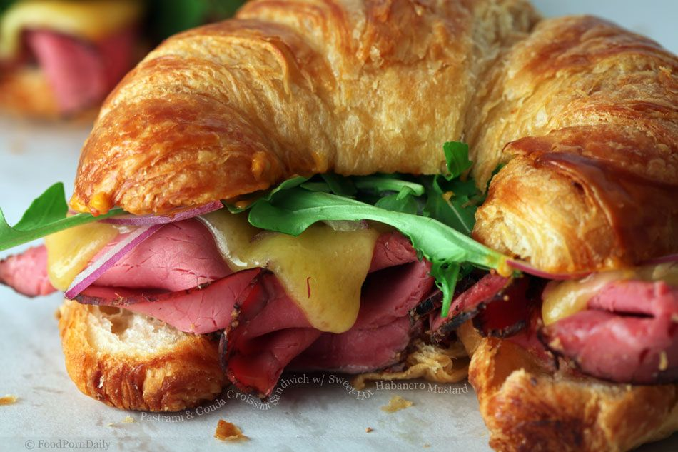 Gouda Cheese with Pear, Ham and lettuce on a Croissant Sandwich